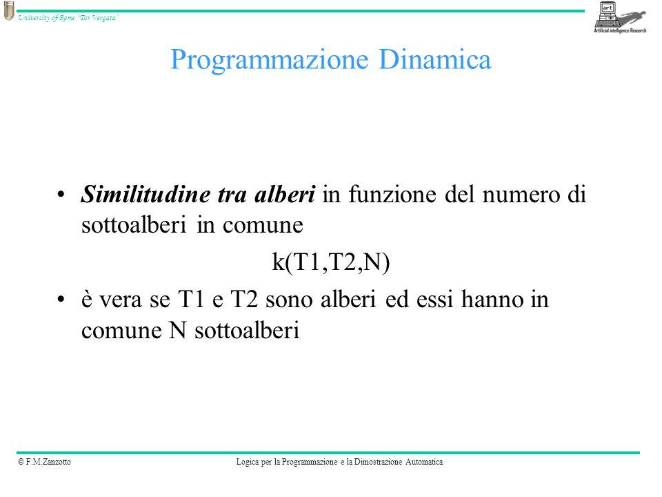 © F.M.ZanzottoLogica per la Programmazione e la Dimostrazione Automatica University of Rome Tor Vergata Programmazione Dinamica Similitudine tra alberi in funzione del numero di sottoalberi in comune k(T1,T2,N) è vera se T1 e T2 sono alberi ed essi hanno in comune N sottoalberi