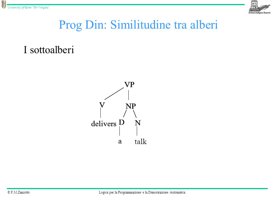 """© F.M.ZanzottoLogica per la Programmazione e la Dimostrazione Automatica University of Rome """"Tor Vergata"""" Prog Din: Similitudine tra alberi I sottoalb"""