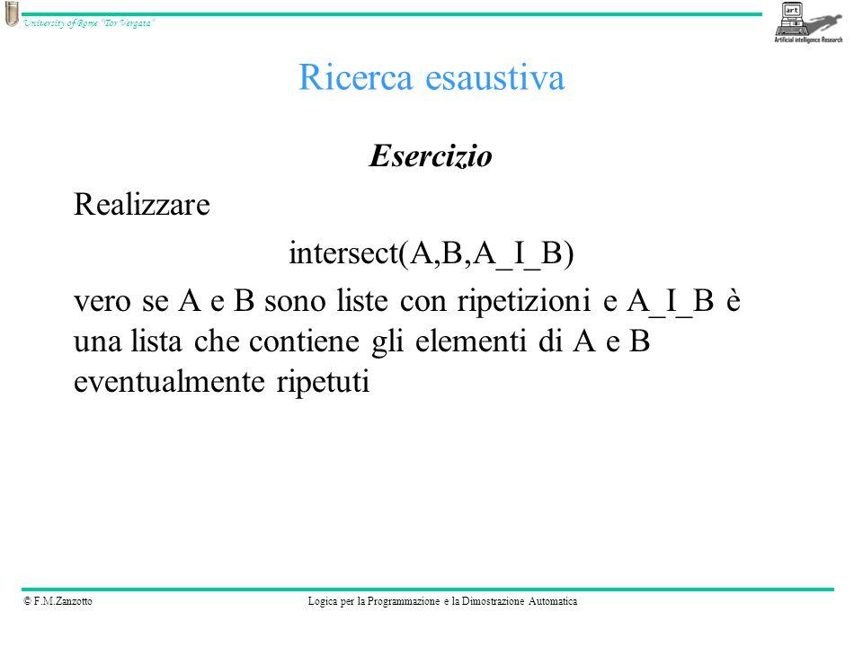 © F.M.ZanzottoLogica per la Programmazione e la Dimostrazione Automatica University of Rome Tor Vergata Ricerca esaustiva Esercizio Realizzare intersect(A,B,A_I_B) vero se A e B sono liste con ripetizioni e A_I_B è una lista che contiene gli elementi di A e B eventualmente ripetuti
