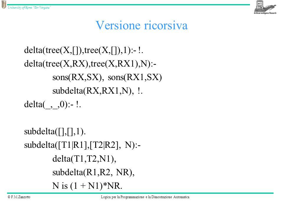 © F.M.ZanzottoLogica per la Programmazione e la Dimostrazione Automatica University of Rome Tor Vergata Versione ricorsiva delta(tree(X,[]),tree(X,[]),1):- !.