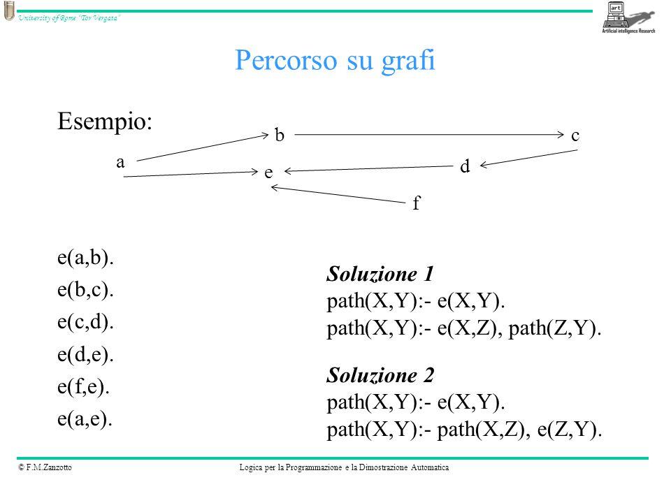 """© F.M.ZanzottoLogica per la Programmazione e la Dimostrazione Automatica University of Rome """"Tor Vergata"""" Percorso su grafi Esempio: e(a,b). e(b,c). e"""
