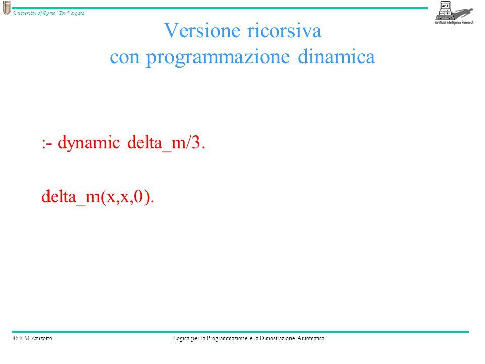 © F.M.ZanzottoLogica per la Programmazione e la Dimostrazione Automatica University of Rome Tor Vergata Versione ricorsiva con programmazione dinamica :- dynamic delta_m/3.
