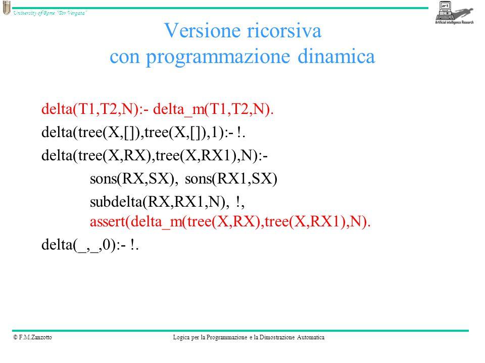 """© F.M.ZanzottoLogica per la Programmazione e la Dimostrazione Automatica University of Rome """"Tor Vergata"""" Versione ricorsiva con programmazione dinami"""