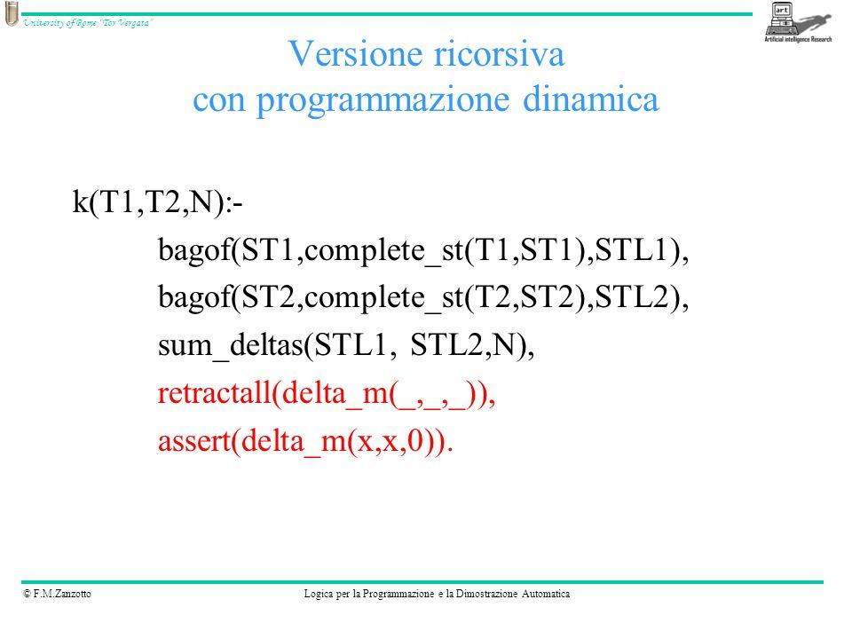 © F.M.ZanzottoLogica per la Programmazione e la Dimostrazione Automatica University of Rome Tor Vergata Versione ricorsiva con programmazione dinamica k(T1,T2,N):- bagof(ST1,complete_st(T1,ST1),STL1), bagof(ST2,complete_st(T2,ST2),STL2), sum_deltas(STL1, STL2,N), retractall(delta_m(_,_,_)), assert(delta_m(x,x,0)).