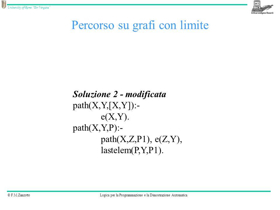 © F.M.ZanzottoLogica per la Programmazione e la Dimostrazione Automatica University of Rome Tor Vergata Percorso su grafi con limite Soluzione 2 - modificata path(X,Y,[X,Y]):- e(X,Y).