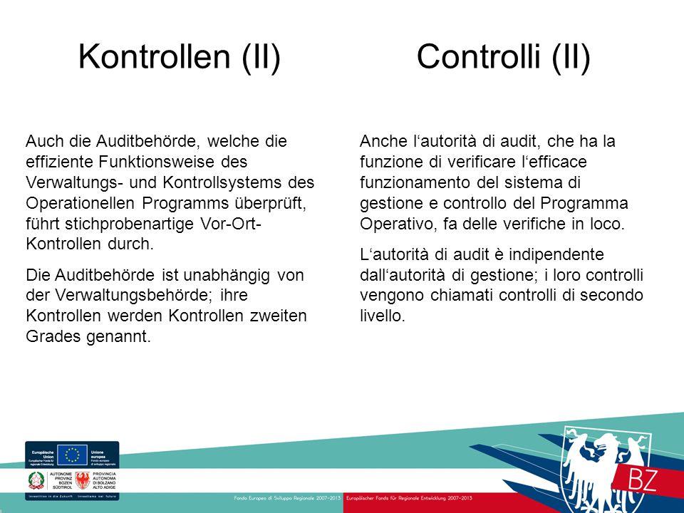 Anche l'autorità di audit, che ha la funzione di verificare l'efficace funzionamento del sistema di gestione e controllo del Programma Operativo, fa delle verifiche in loco.