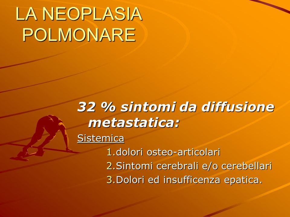 LA NEOPLASIA POLMONARE 32 % sintomi da diffusione metastatica: Sistemica 1.dolori osteo-articolari 2.Sintomi cerebrali e/o cerebellari 3.Dolori ed ins