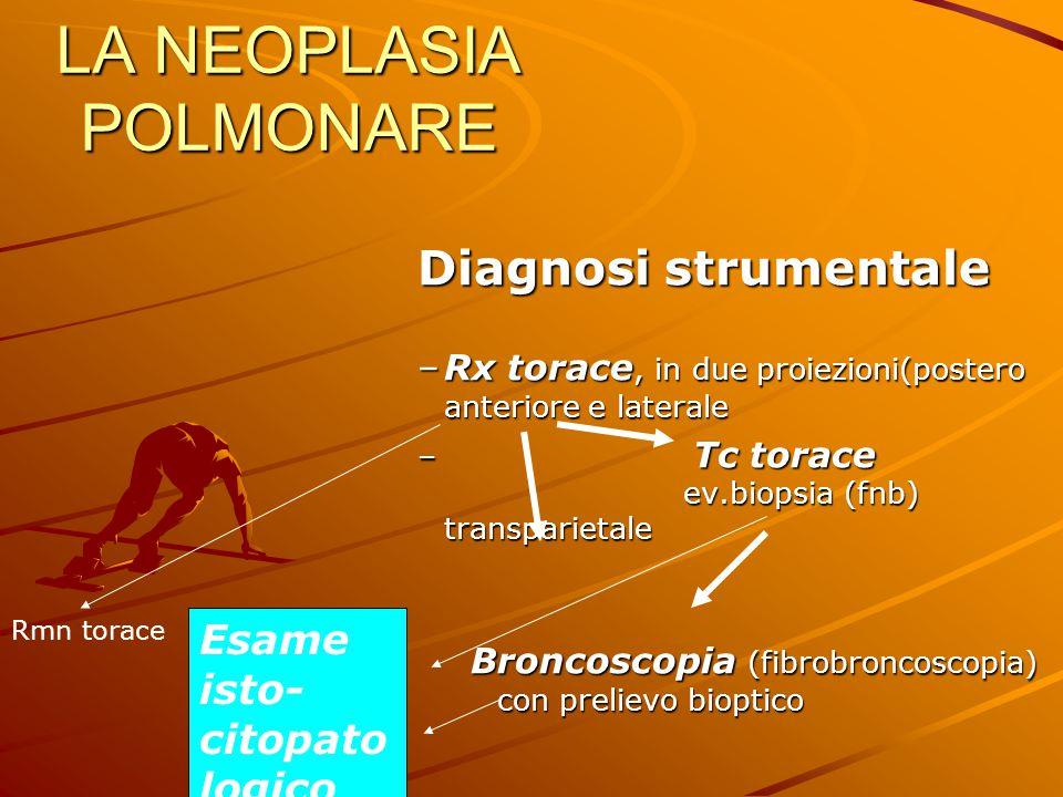LA NEOPLASIA POLMONARE Diagnosi strumentale –Rx torace, in due proiezioni(postero anteriore e laterale – Tc torace ev.biopsia (fnb) transparietale Bro