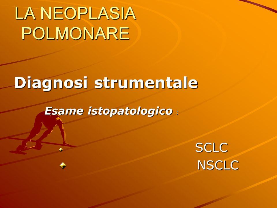 LA NEOPLASIA POLMONARE Diagnosi strumentale Diagnosi strumentale Esame istopatologico : SCLC SCLC NSCLC NSCLC