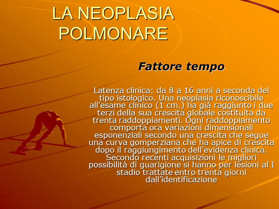 LA NEOPLASIA POLMONARE Fattore tempo Latenza clinica: da 8 a 16 anni a seconda del tipo istologico. Una neoplasia riconoscibile all'esame clinico (1 c