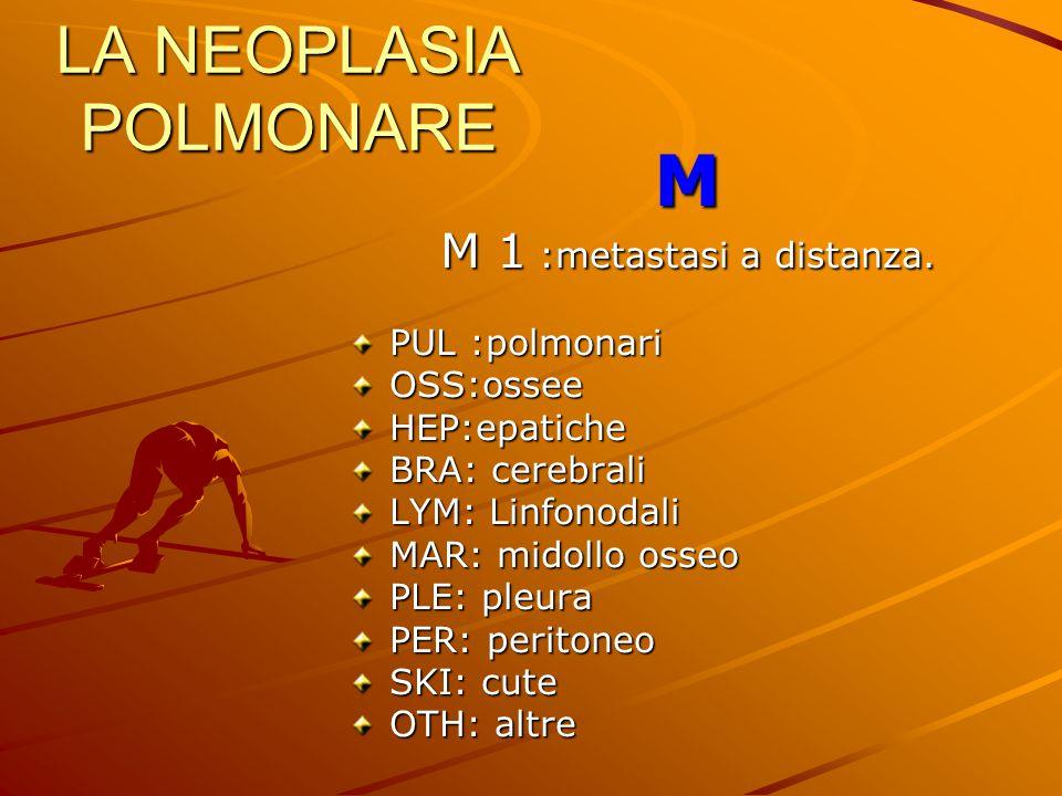 LA NEOPLASIA POLMONARE M M 1 :metastasi a distanza. PUL :polmonari OSS:osseeHEP:epatiche BRA: cerebrali LYM: Linfonodali MAR: midollo osseo PLE: pleur