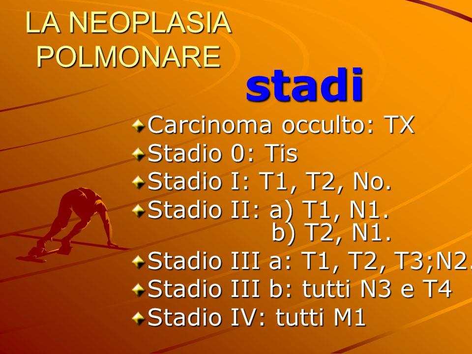 LA NEOPLASIA POLMONARE stadi Carcinoma occulto: TX Stadio 0: Tis Stadio I: T1, T2, No. Stadio II: a) T1, N1. b) T2, N1. Stadio III a: T1, T2, T3;N2. S