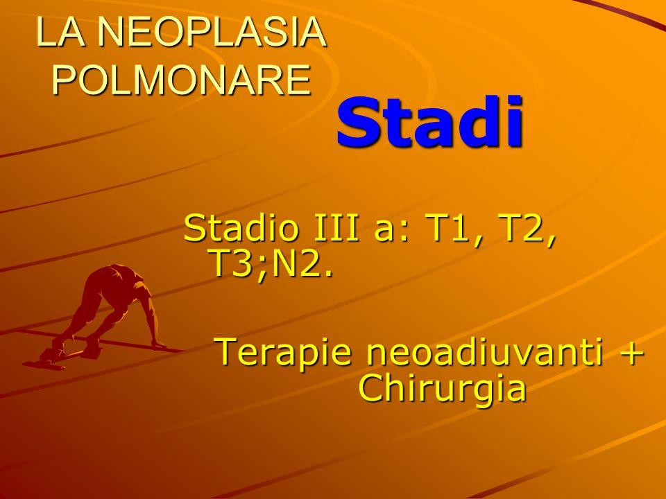 LA NEOPLASIA POLMONARE Stadi Stadio III a: T1, T2, T3;N2. Terapie neoadiuvanti + Chirurgia