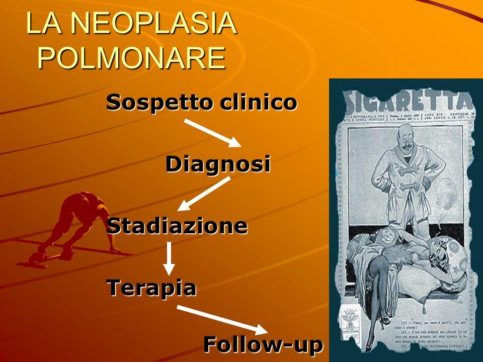 LA NEOPLASIA POLMONARE Sospetto clinico Diagnosi DiagnosiStadiazioneTerapia Follow-up Follow-up