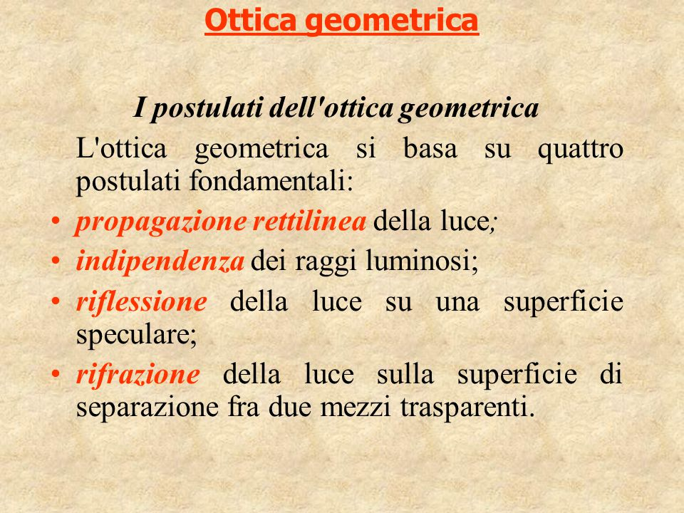 Ottica geometrica I postulati dell'ottica geometrica L'ottica geometrica si basa su quattro postulati fondamentali: propagazione rettilinea della luce