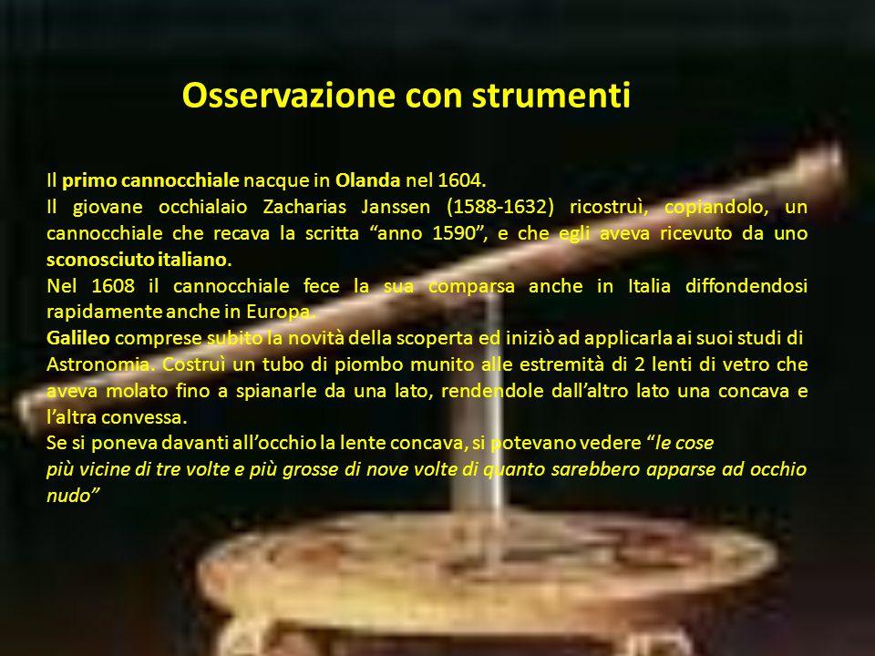 Osservazione con strumenti Il primo cannocchiale nacque in Olanda nel 1604.