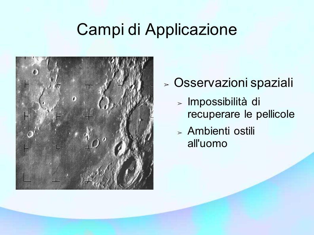 Campi di Applicazione ➢ Osservazioni spaziali ➢ Impossibilità di recuperare le pellicole ➢ Ambienti ostili all uomo