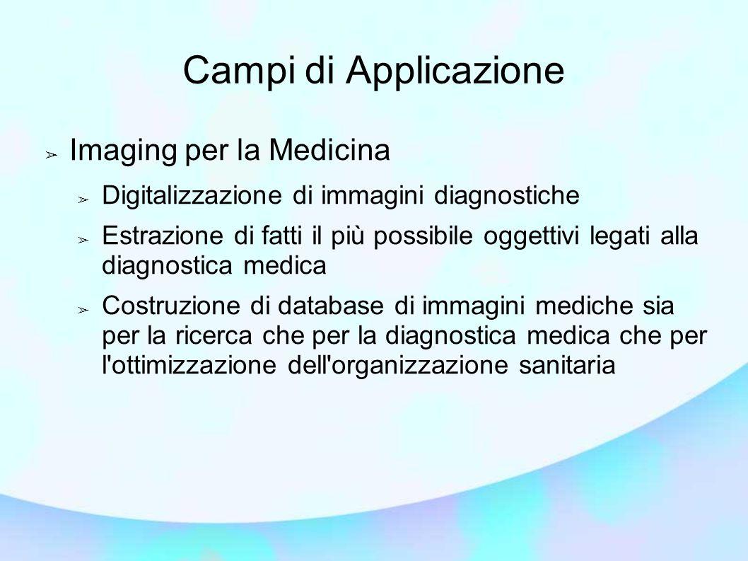Campi di Applicazione ➢ Imaging per la Medicina ➢ Digitalizzazione di immagini diagnostiche ➢ Estrazione di fatti il più possibile oggettivi legati alla diagnostica medica ➢ Costruzione di database di immagini mediche sia per la ricerca che per la diagnostica medica che per l ottimizzazione dell organizzazione sanitaria