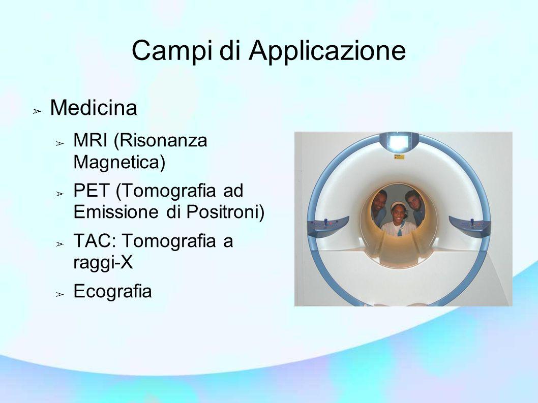 Campi di Applicazione ➢ Medicina ➢ MRI (Risonanza Magnetica) ➢ PET (Tomografia ad Emissione di Positroni) ➢ TAC: Tomografia a raggi-X ➢ Ecografia