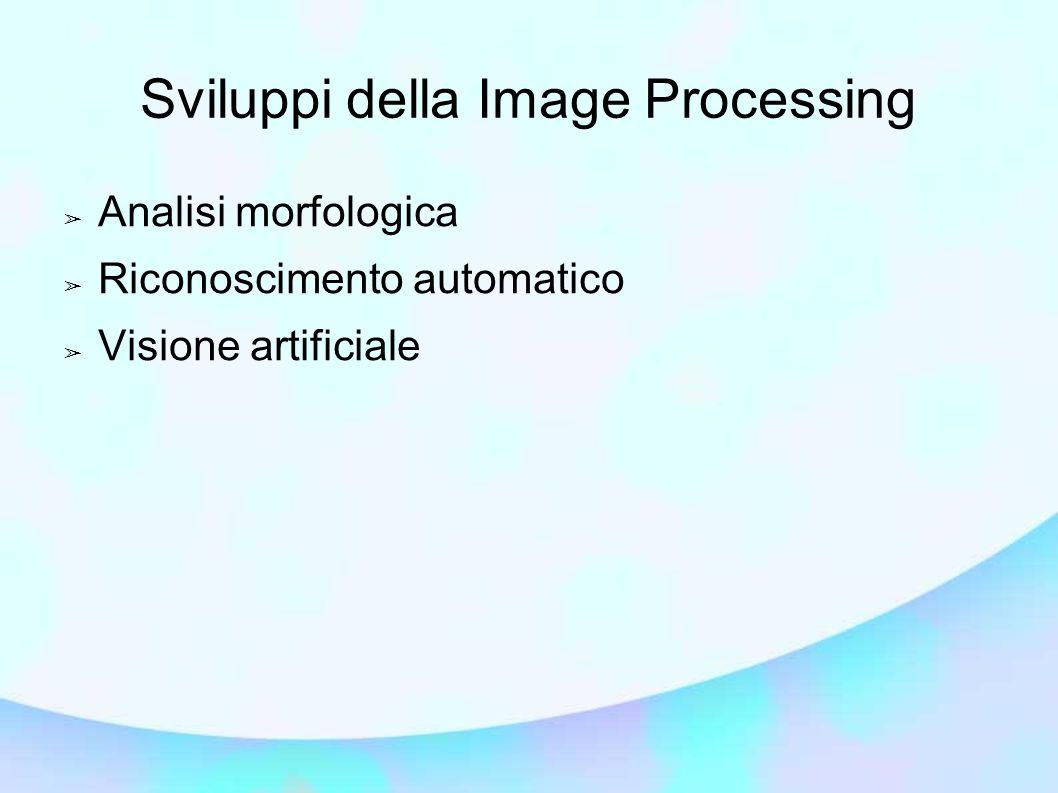 Sviluppi della Image Processing ➢ Analisi morfologica ➢ Riconoscimento automatico ➢ Visione artificiale
