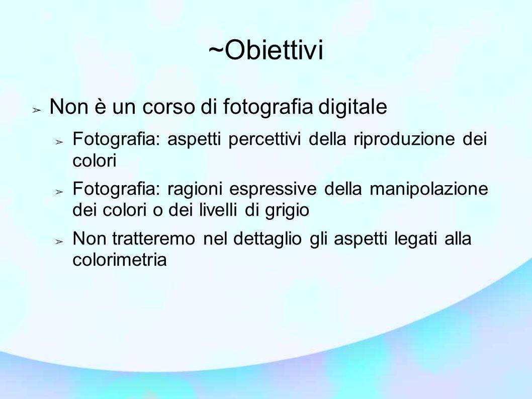 ~Obiettivi ➢ Non è un corso di fotografia digitale ➢ Fotografia: aspetti percettivi della riproduzione dei colori ➢ Fotografia: ragioni espressive del