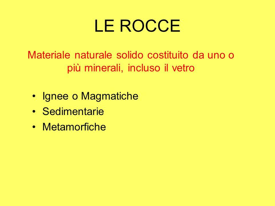 LE ROCCE Materiale naturale solido costituito da uno o più minerali, incluso il vetro Ignee o Magmatiche Sedimentarie Metamorfiche