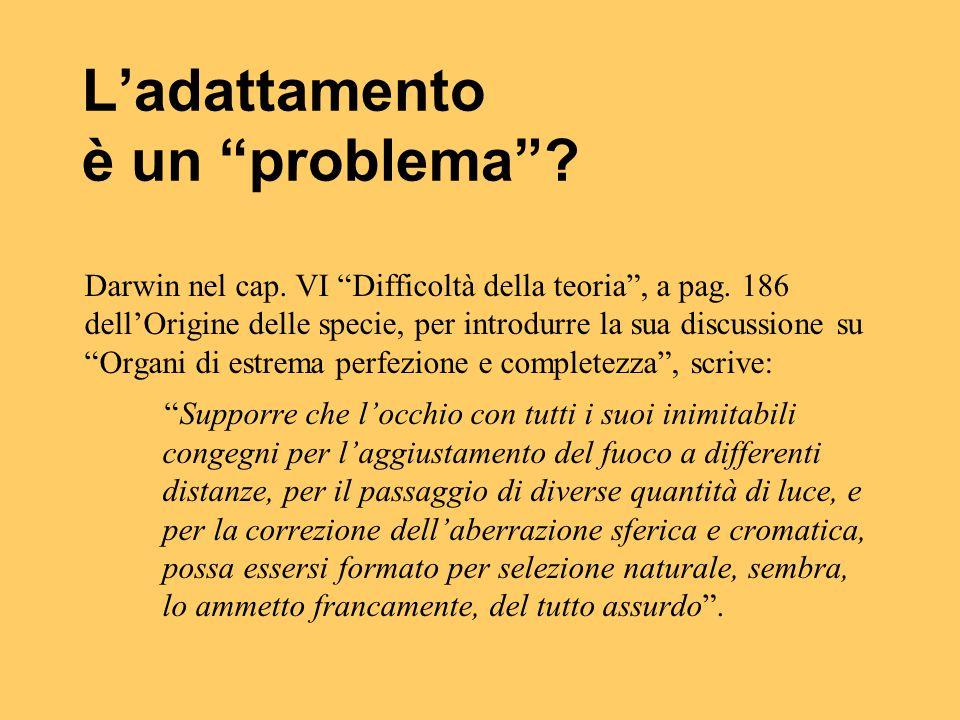 """L'adattamento è un """"problema""""? Darwin nel cap. VI """"Difficoltà della teoria"""", a pag. 186 dell'Origine delle specie, per introdurre la sua discussione s"""