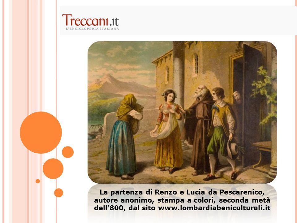 La partenza di Renzo e Lucia da Pescarenico, autore anonimo, stampa a colori, seconda metà dell'800, dal sito www.lombardiabeniculturali.it