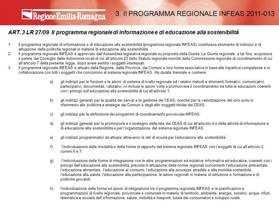 ART. 3 LR 27/09 Il programma regionale di informazione e di educazione alla sostenibilità 1.Il programma regionale di informazione e di educazione all