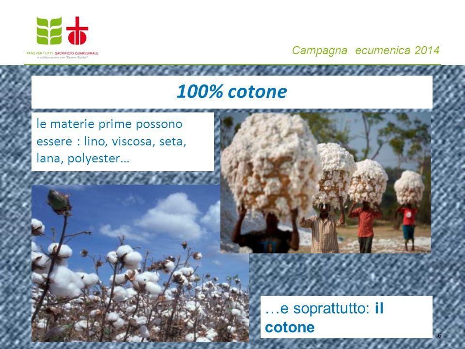 Campagna ecumenica 2014 le materie prime possono essere : lino, viscosa, seta, lana, polyester… …e soprattutto: il cotone 6 100% cotone