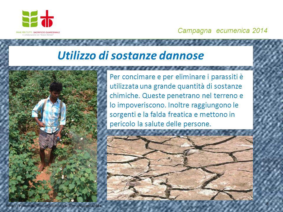 Campagna ecumenica 2014 8 Utilizzo di sostanze dannose Per concimare e per eliminare i parassiti è utilizzata una grande quantità di sostanze chimiche.