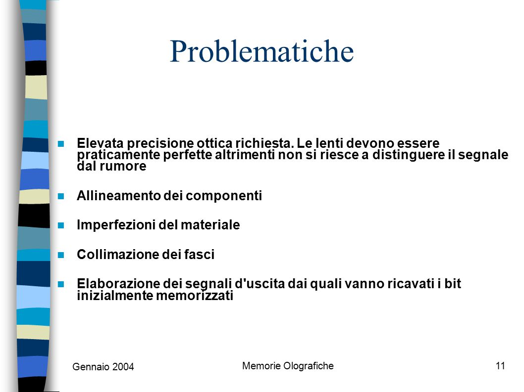 Gennaio 2004 Memorie Olografiche11 Problematiche Elevata precisione ottica richiesta. Le lenti devono essere praticamente perfette altrimenti non si r