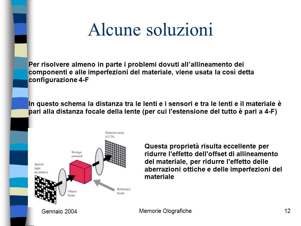 Gennaio 2004 Memorie Olografiche12 Alcune soluzioni Per risolvere almeno in parte i problemi dovuti all'allineamento dei componenti e alle imperfezion
