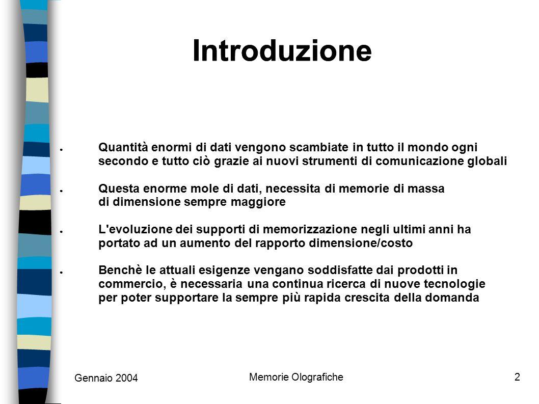 Memorie Olografiche2 Introduzione ● Quantità enormi di dati vengono scambiate in tutto il mondo ogni secondo e tutto ciò grazie ai nuovi strumenti di