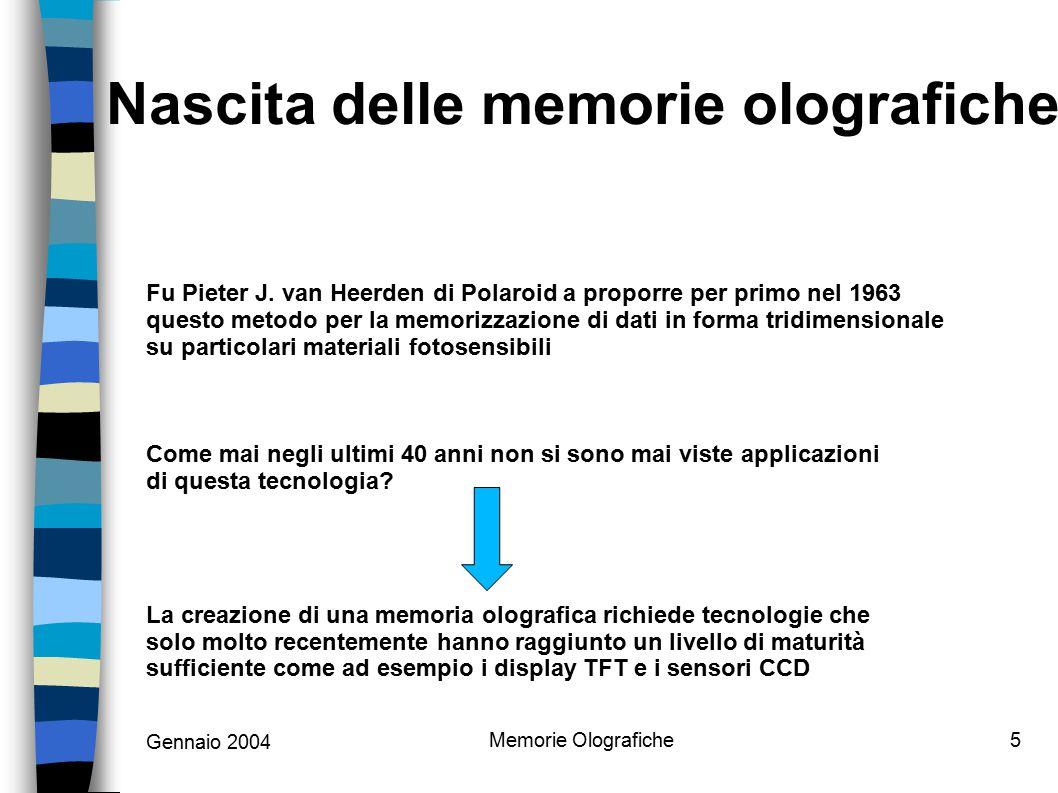 Gennaio 2004 Memorie Olografiche6 Lo storage Olografico promette di archiviare Terabyte di informazioni in spazi limitati, con tempi di accesso inferiori a 100 microsecondi e con elevatissimi data-rate.