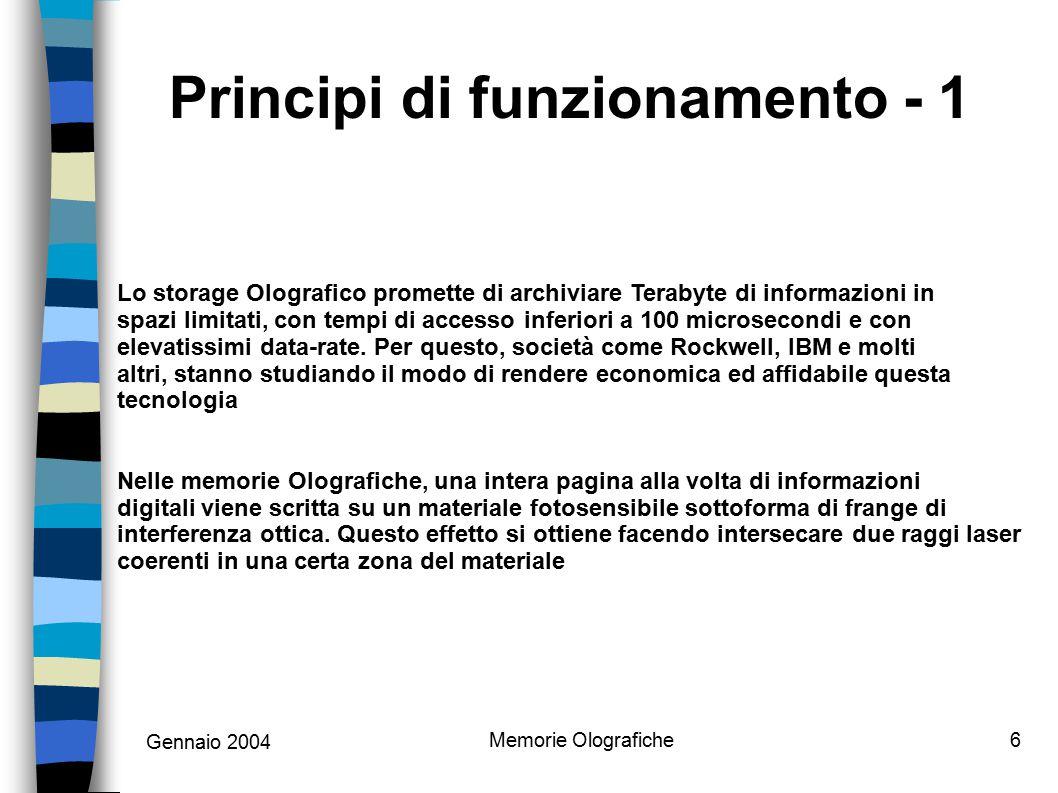 Gennaio 2004 Memorie Olografiche6 Lo storage Olografico promette di archiviare Terabyte di informazioni in spazi limitati, con tempi di accesso inferi
