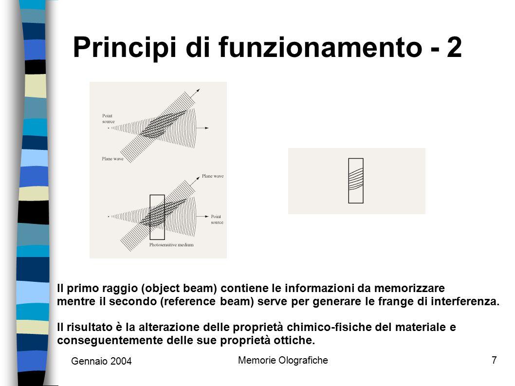 Gennaio 2004 Memorie Olografiche8 Principi di funzionamento - 3 E possibile archiviare più immagini olografiche sullo stesso mezzo in vari modi; il più promettente è quello di utilizzare differenti angoli di divergenza tra i due laser.