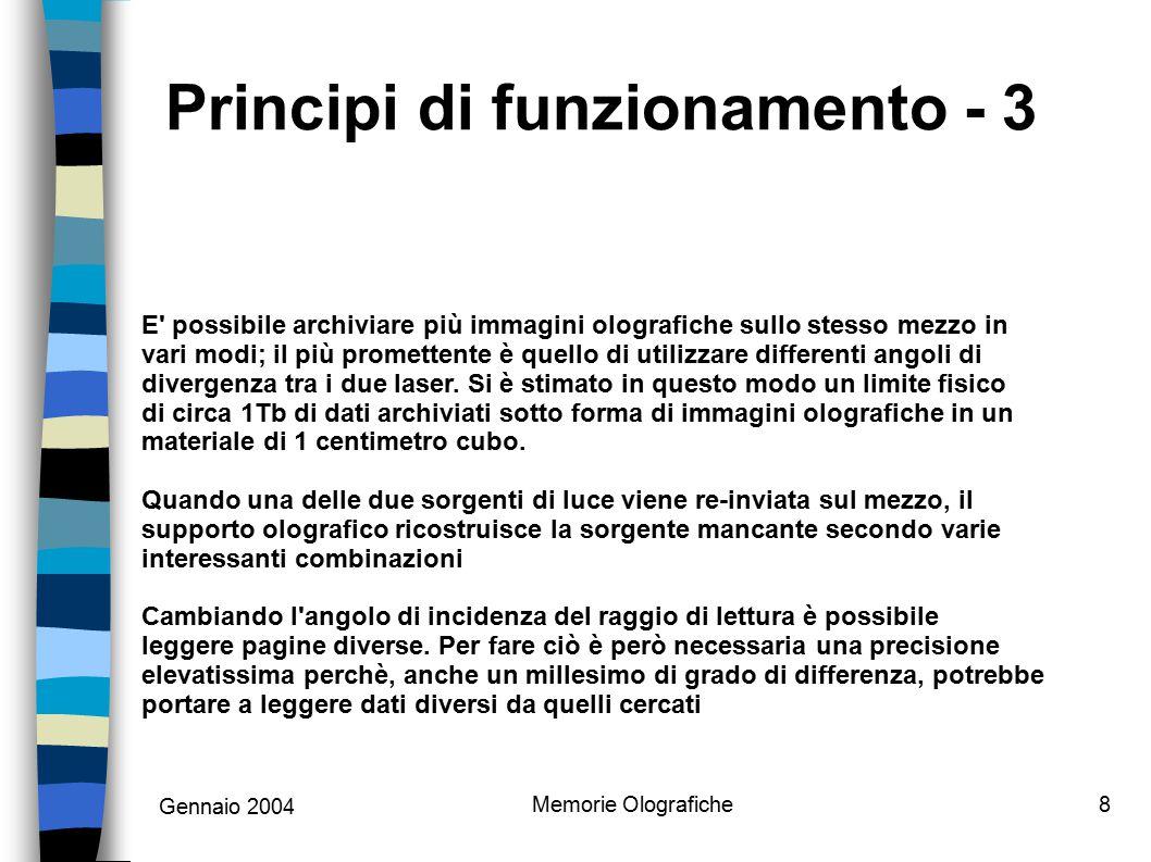 Gennaio 2004 Memorie Olografiche8 Principi di funzionamento - 3 E' possibile archiviare più immagini olografiche sullo stesso mezzo in vari modi; il p