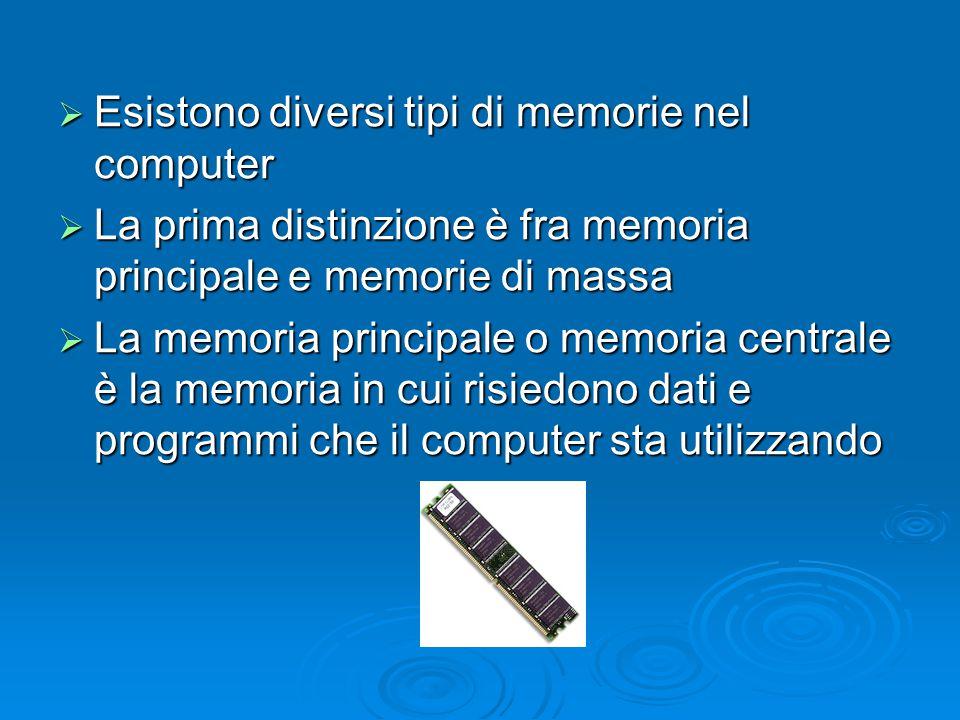  Esistono diversi tipi di memorie nel computer  La prima distinzione è fra memoria principale e memorie di massa  La memoria principale o memoria c