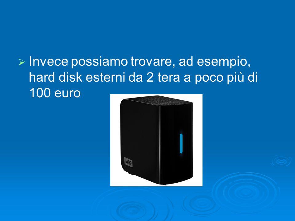   Invece possiamo trovare, ad esempio, hard disk esterni da 2 tera a poco più di 100 euro