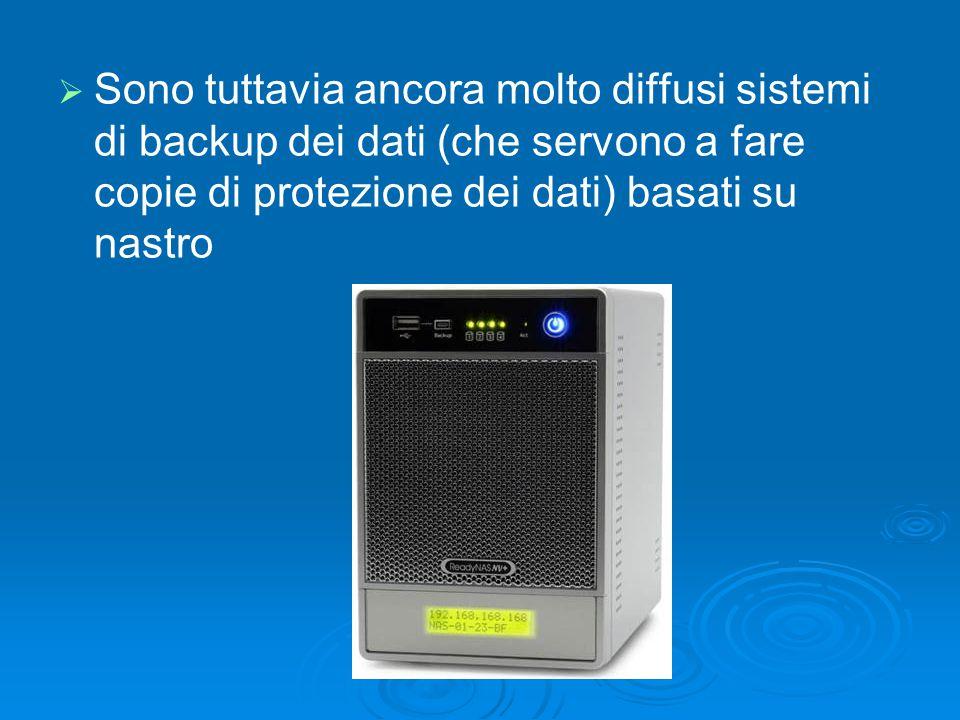   Sono tuttavia ancora molto diffusi sistemi di backup dei dati (che servono a fare copie di protezione dei dati) basati su nastro