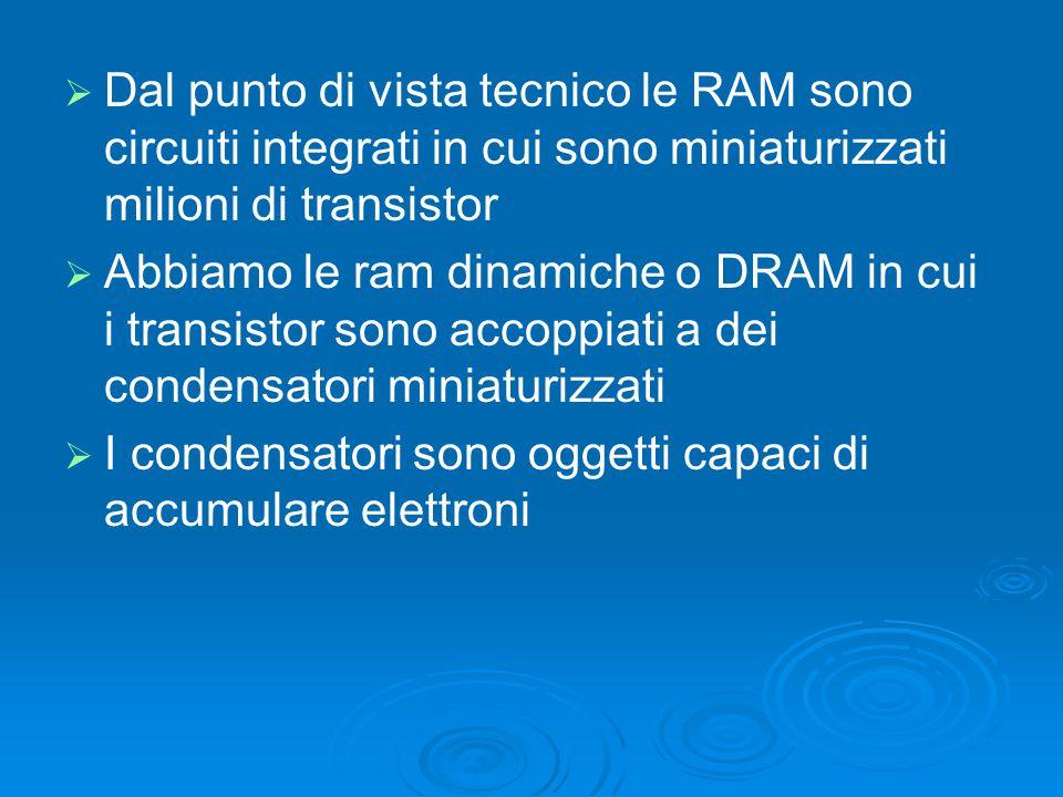   Dal punto di vista tecnico le RAM sono circuiti integrati in cui sono miniaturizzati milioni di transistor   Abbiamo le ram dinamiche o DRAM in