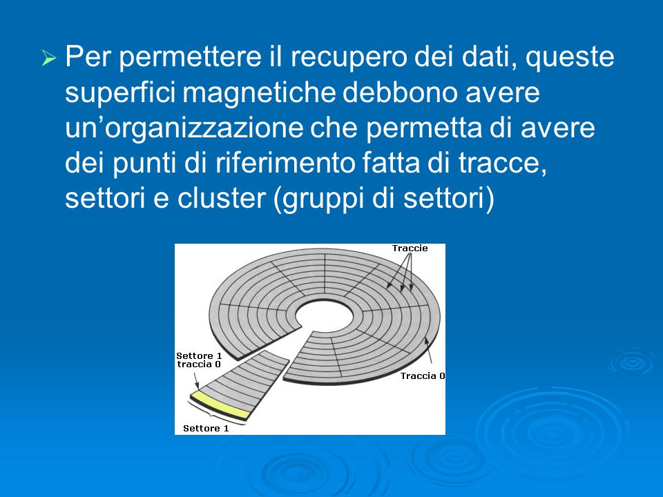   Per permettere il recupero dei dati, queste superfici magnetiche debbono avere un'organizzazione che permetta di avere dei punti di riferimento fa