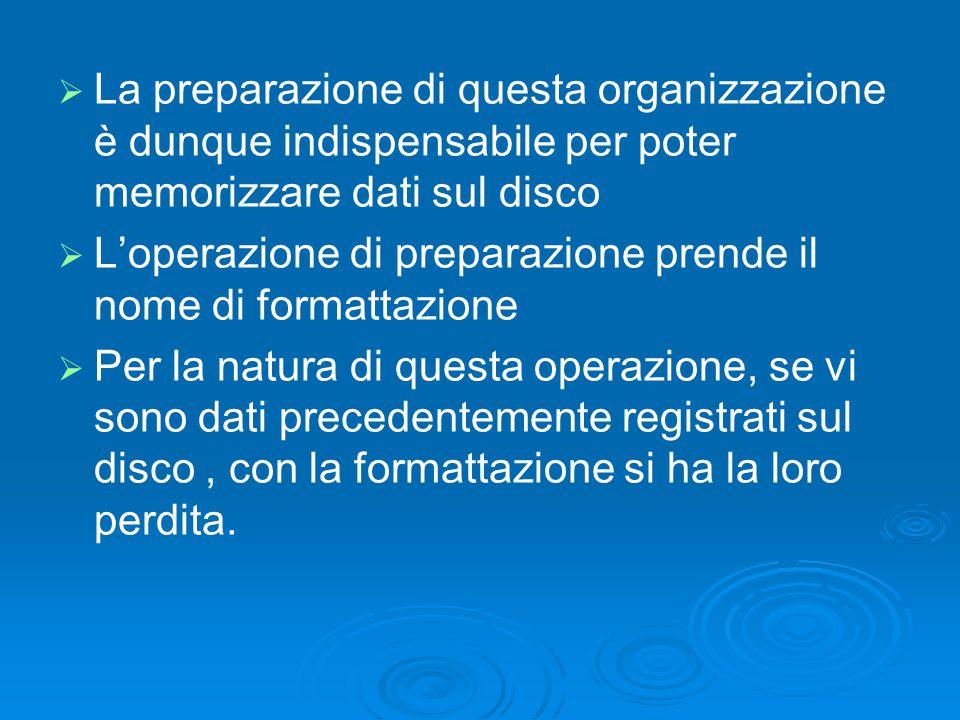   La preparazione di questa organizzazione è dunque indispensabile per poter memorizzare dati sul disco   L'operazione di preparazione prende il n