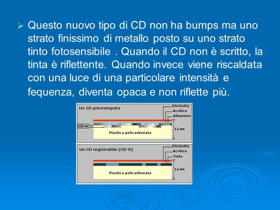  Questo nuovo tipo di CD non ha bumps ma uno strato finissimo di metallo posto su uno strato tinto fotosensibile. Quando il CD non è scritto, la ti