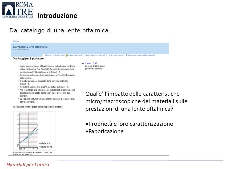 Introduzione Dal catalogo di una lente oftalmica… Materiali per l'ottica Qual'e' l'impatto delle caratteristiche micro/macroscopiche dei materiali sul