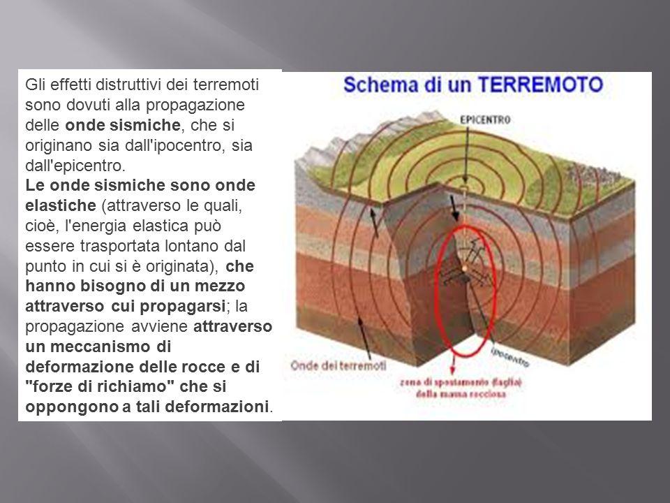 Gli effetti distruttivi dei terremoti sono dovuti alla propagazione delle onde sismiche, che si originano sia dall'ipocentro, sia dall'epicentro. Le o