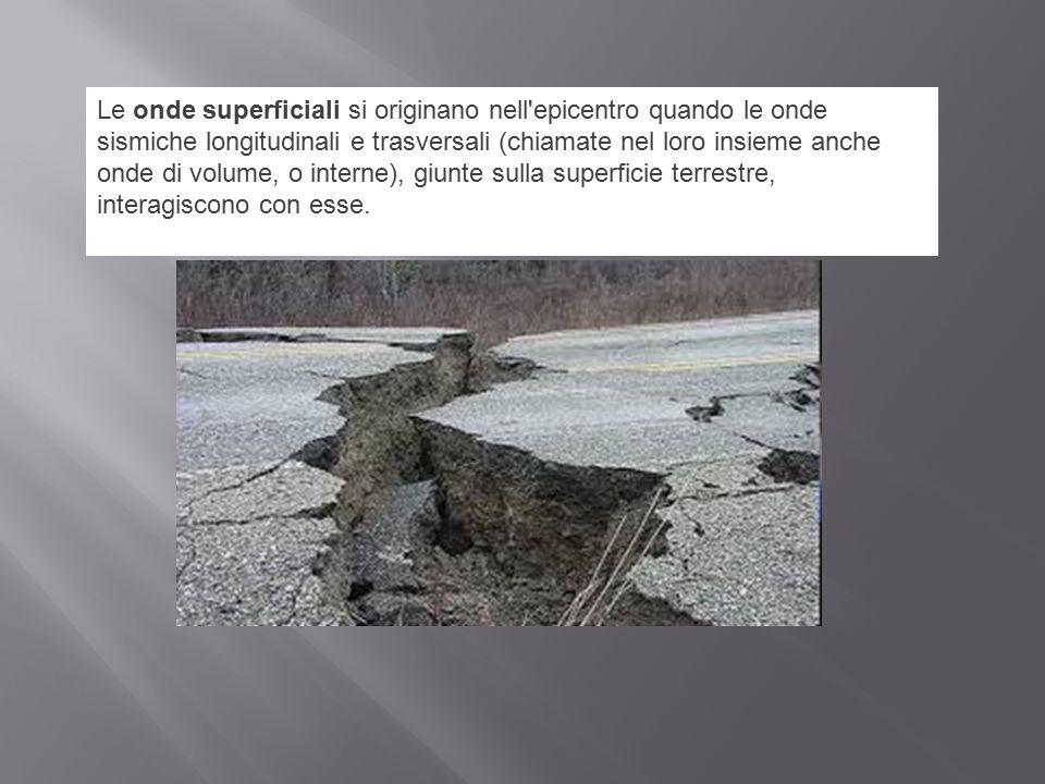 Le onde superficiali si originano nell'epicentro quando le onde sismiche longitudinali e trasversali (chiamate nel loro insieme anche onde di volume,