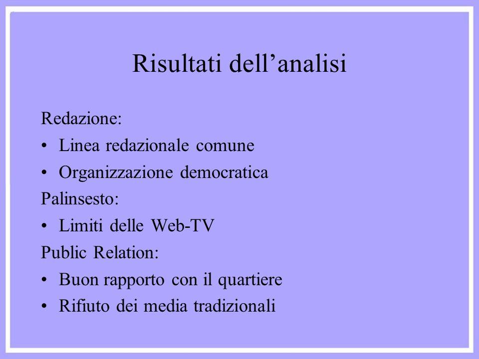 Risultati dell'analisi Redazione: Linea redazionale comune Organizzazione democratica Palinsesto: Limiti delle Web-TV Public Relation: Buon rapporto c