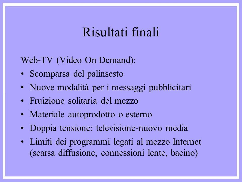 Risultati finali Web-TV (Video On Demand): Scomparsa del palinsesto Nuove modalità per i messaggi pubblicitari Fruizione solitaria del mezzo Materiale